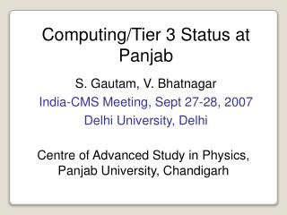 Computing/Tier 3 Status at Panjab