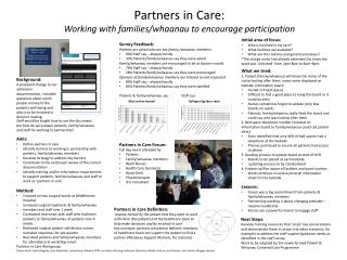 Partners in Care: Working with families/whaanau to encourage participation