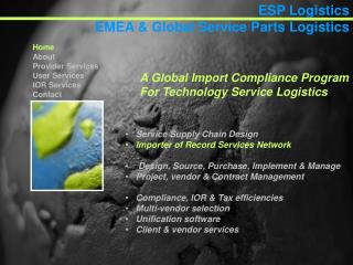 Service Supply ChainDesign Importer of Record Services Network