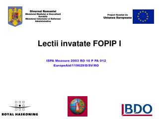 Lectii invatate FOPIP I
