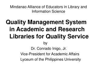 Mindanao Alliance of Educators in Library and Information Science