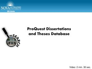 ProQuest  Dissertations and Theses Database