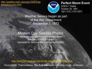 Modern Day Satellite Photos Geostationary Operational Environmental Satellite (GOES) Program