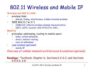 802.11 Wireless and Mobile IP