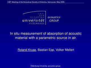 In situ measurement of absorption of acoustic material with a parametric source in air.