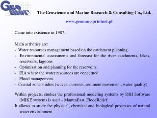 The Geoscience and Mari ne  Research & Consulting Co., Ltd.