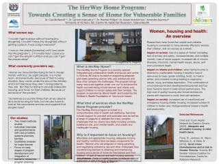 The HerWay  Home Program:  Towards Creating a Sense of Home for Vulnerable Families