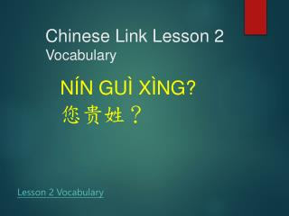 Chinese Link  Lesson  2 Vocabulary