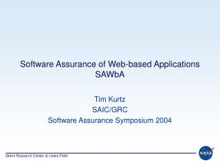 Software Assurance of Web-based Applications SAWbA