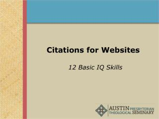 Citations for Websites