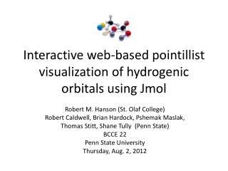 Interactive web-based pointillist visualization of hydrogenic orbitals using Jmol