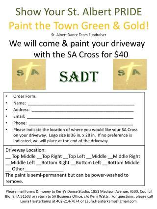 Show Your St. Albert PRIDE Paint the Town Green & Gold! St. Albert Dance Team Fundraiser
