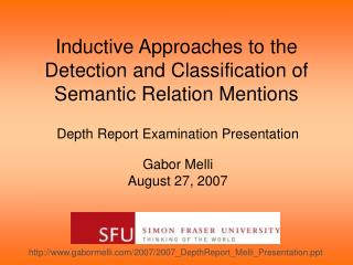 Inductive Approaches to the Detection and Classification of Semantic Relation Mentions