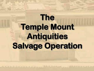 The  Temple Mount  Antiquities  Salvage Operation