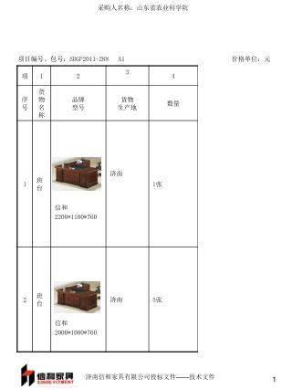 项目编号、包号: SDGP2011-288   A1 价格单位:元