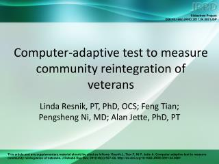 Computer-adaptive test to measure community reintegration of veterans