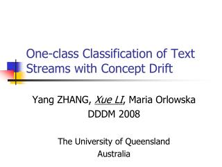 One-class Classification of Text Streams with Concept Drift