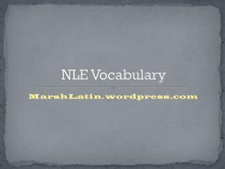 NLE  Vocabulary