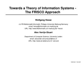 Towards a Theory of Information Systems -The FRISCO Approach