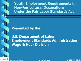 Youth Employment Requirements in Non-Agricultural Occupations  Under the Fair Labor Standards Act