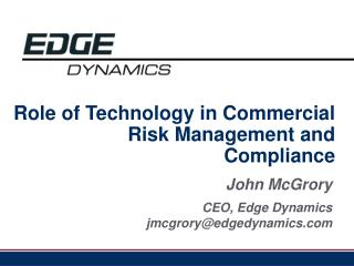 Role of Technology in Commercial Risk Management and Compliance