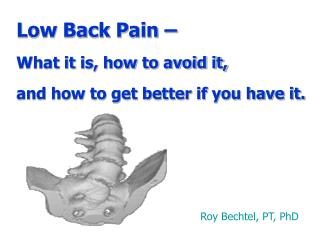 Low Back Pain – What it is, how to avoid it, and how to get better if you have it.