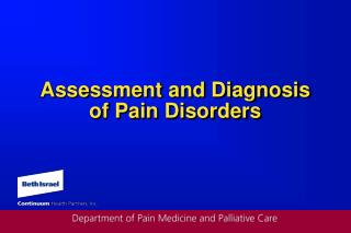 Assessment and Diagnosis of Pain Disorders