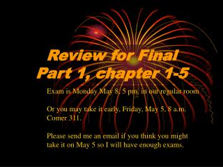 Review for Final Part 1, chapter 1-5