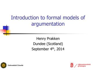 Introduction to formal models of argumentation