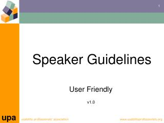 Speaker Guidelines User Friendly  v1.0