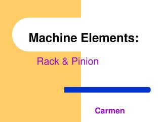 Machine Elements: