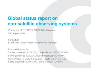 Global status report on  non-satellite observing systems