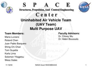 Uninhabited Air Vehicle Team (UAV Team) Multi Purpose UAV
