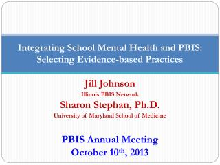 Integrating School Mental Health and PBIS: Selecting Evidence-based Practices