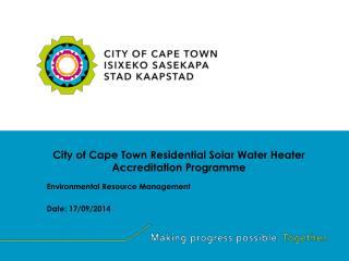 City of Cape Town Residential Solar Water Heater Accreditation Programme