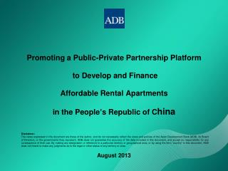 Promoting a Public-Private Partnership Platform  to Develop and Finance