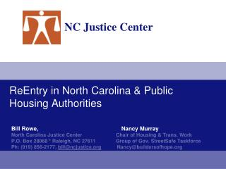 ReEntry in North Carolina & Public Housing Authorities