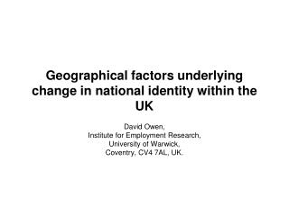 Geographical factors underlying change in national identity within the UK