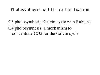 Photosynthesis part II – carbon fixation