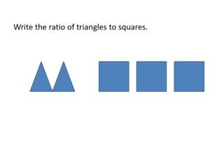 Write the ratio of triangles to squares.