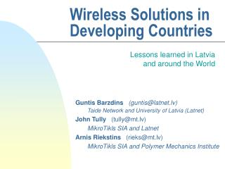 Wireless Solutions in Developing Countries