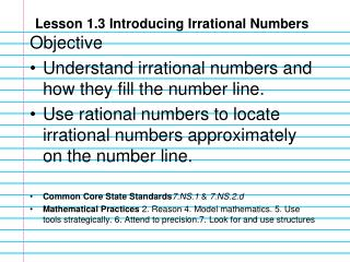 Lesson 1.3 Introducing Irrational Numbers