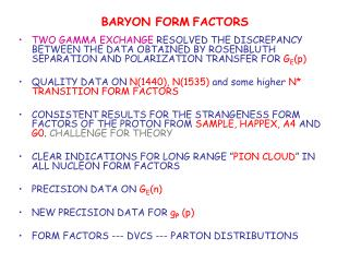 BARYON FORM FACTORS