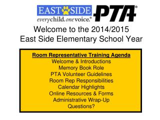 Welcome to the 2014/2015  East Side Elementary School Year Room Representative Training Agenda