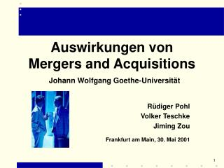 Auswirkungen von Mergers and Acquisitions