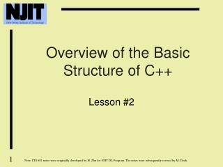 Overview of the Basic Structure of C++