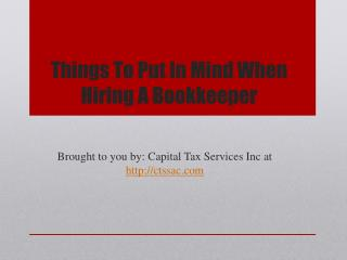 Things To Put In Mind When Hiring A Bookkeeper