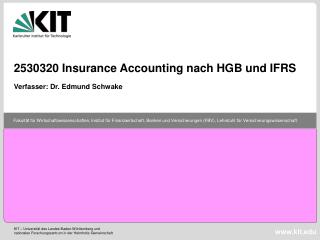 2530320 Insurance Accounting nach HGB und IFRS