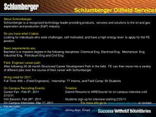 Schlumberger Oilfield Services