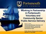 Working in Partnership in Portsmouth: Voluntary and Community Sector Public Service Delivery